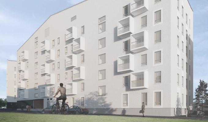 Lumo-kotien uutuuskohteen julkisivuhavainnekuva Helsingistä osoitteessa Keinulaudantie 2 b